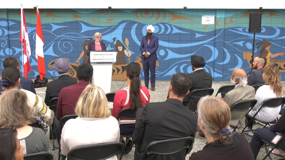Minister of Public Services Carla Qualtrough speaks during an announcement at the former Harry Stevens Building in Vancouver on Aug. 9, 2019.
