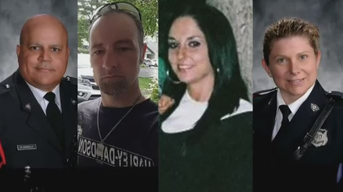 Const. Robb Costello, Donnie Robichaud, Bobbie Lee Wright, and Const. Sara Burns were killed in a shooting in Fredericton on Aug. 10, 2018.