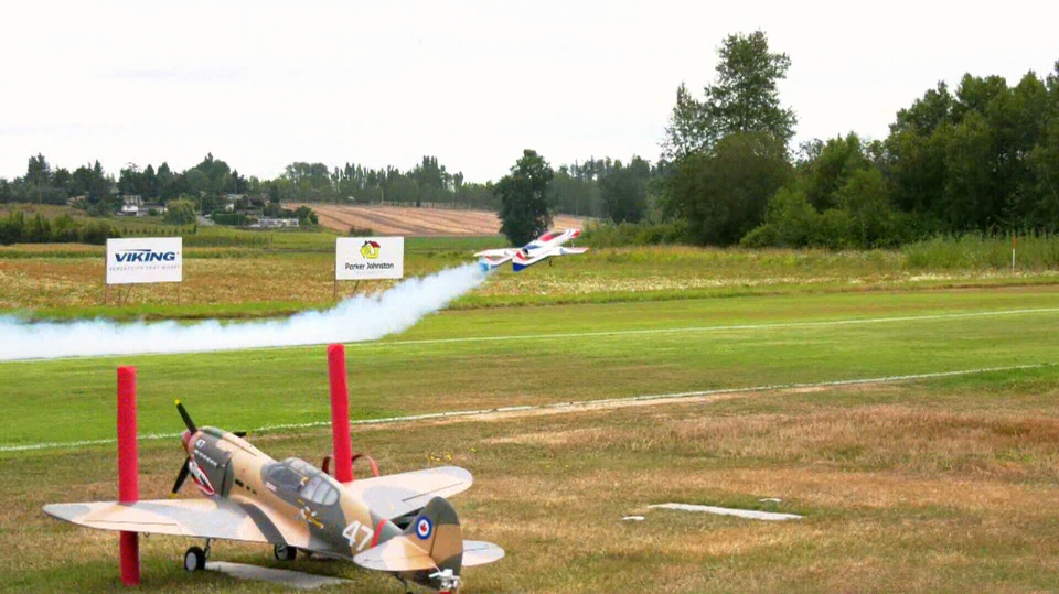 A plane takes a test run ahead of Victoria's Biggest Little Airshow, held Aug. 10-11 in Central Saanich. Aug. 9, 2019. (CTV Vancouver Island)