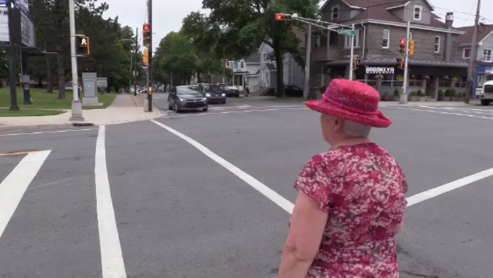"""The biggest one [problem] is the short crossing time at lighted intersections,"" says Brush. ""Especially in the winter. I walk very slowly in the winter because I don't want to fall down."""
