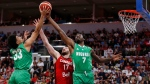 Canada's Owen Klassen (17) and Nigeria's Jordan Nwora (33) and Al-Farouq Aminu (7) go for the rebound during the second half of their exhibition game in Winnipeg, Friday, August 9, 2019 in preparation for the FIBA Basketball World Cup. THE CANADIAN PRESS/John Woods