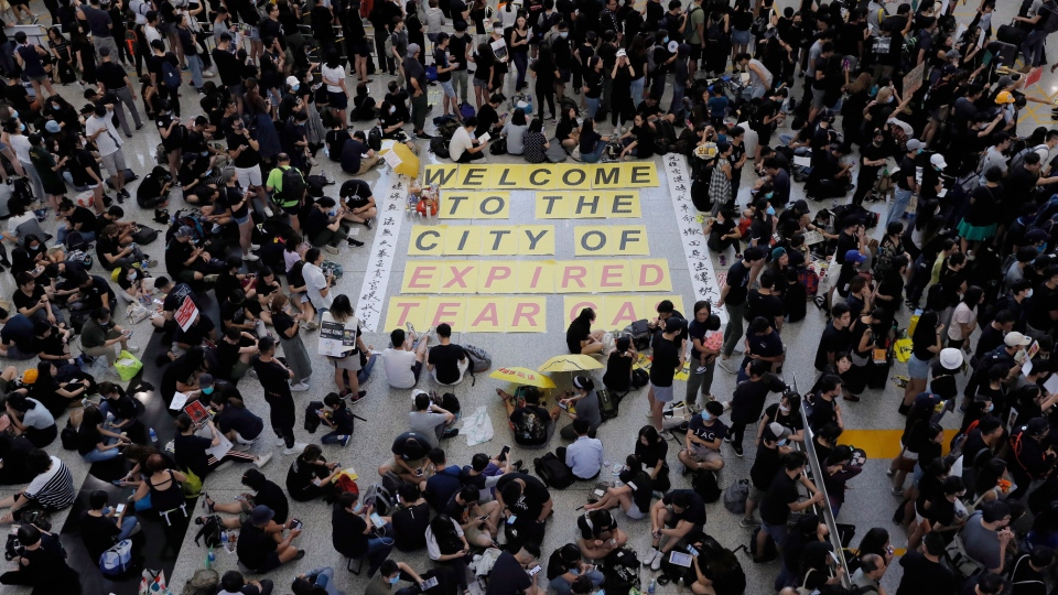 hong kong sit in protest