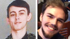 The bodies of Bryer Schmegelsky, left, and Kam McLeod were found near Gillam, Man., on Aug. 7. (RCMP)