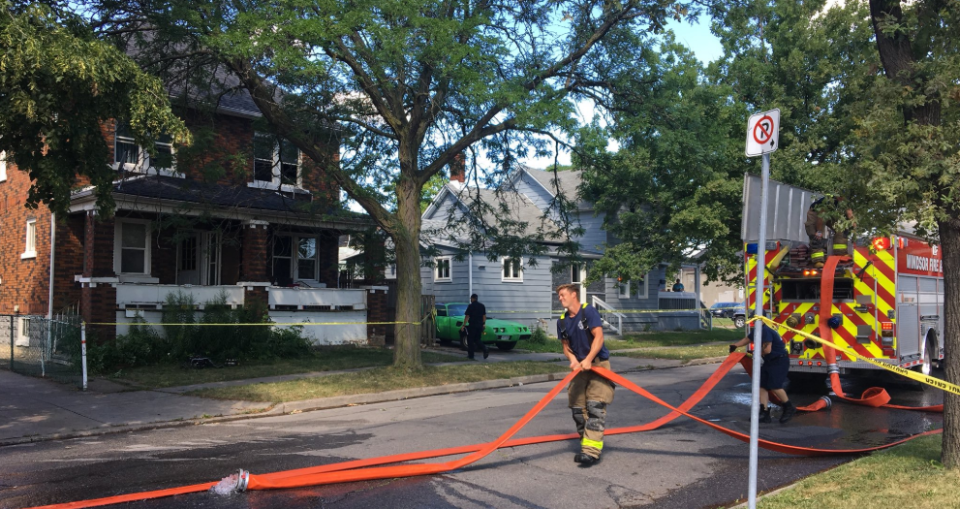 Firefighters are at the scene of a blaze at a building on Mercer Street in Windsor, Ont. on Saturday, Aug. 11, 2019.