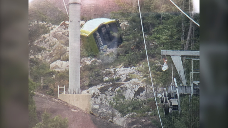 Police in Squamish are investigating after the Sea-to-Sky Gondola collapsed early Saturday morning. (Holly Adams/CTV)