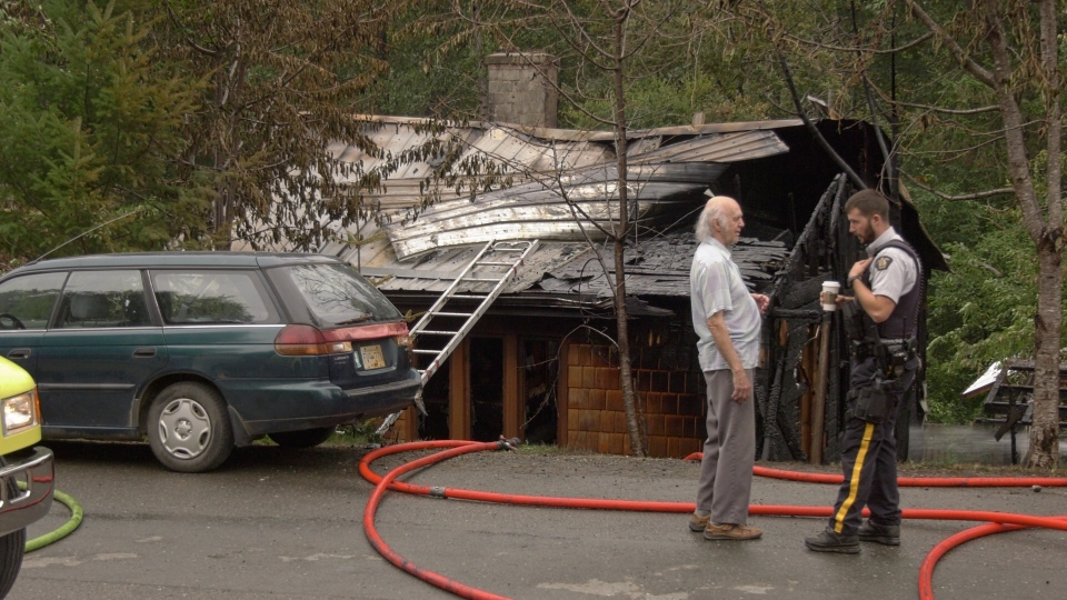 Determining a cause of the fire may prove to be a challenge for investigators because of the extensive damage. (Gord Kurbis/CTV Vancouver Island)
