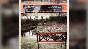 Angie Depner and her family found the memorial bench Saturday after it was miss for weeks. (Courtesy: Diana Stabel)
