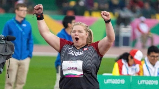 Brittany Crew smashed Canadian shot put record at the Pan Am Games and won a silver medal in Peru on Friday. (Jessica Scarlato)