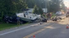 Hwy 59 boat and sedan crash