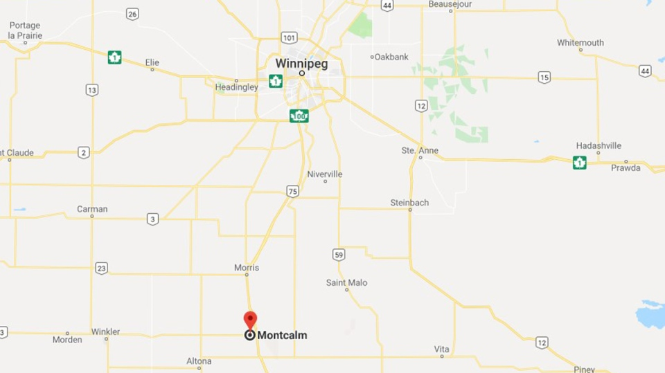 The Rural Municipality of Montcalm is located about an hour south of Winnipeg.(Source: Google Maps)
