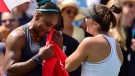 Canada's Bianca Andreescu consoles Serena Williams of the USA after Williams had to retire from the final of the Rogers Cup tennis tournament in Toronto on Sunday, Aug. 11, 2019. THE CANADIAN PRESS/Frank Gunn