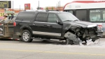 A damaged truck following a crash in southeast Calgary in the summer of 2019 (file)
