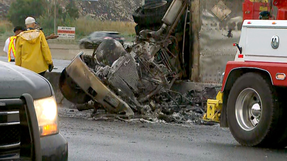 A vehicle involved in a double fatal collision in Mississauga is seen one day after the incident. (CTV News Toronto)