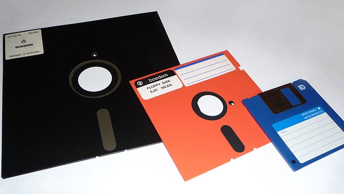 A photo of a group of eight-inch (20 centimetres), 5.25-inch (13 centimetres), and 3.5-inch (8.89 centimetres) floppy disks (Wikimedia Commons)