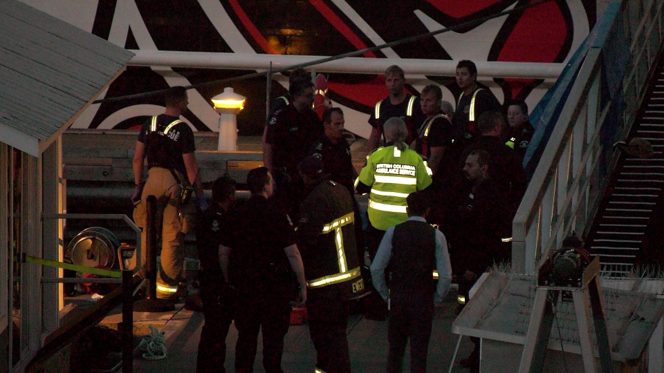 First responders were seen at the Vancouver Convention Centre Sunday night.