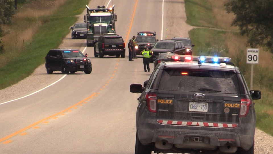 OPP block the scene after a fatal single-vehicle crash near Brussels, Ont. on Monday, Aug. 12, 2019. (Gerry Dewan / CTV London)