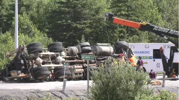 Transport rollover on Highway 17 bypass, off the Kingway in Sudbury (Ian Campbell/CTV Northern Ontario)