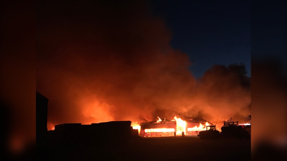 Fire officials say about 800 animals may have died in the flames. (Source: Steinbach Online)