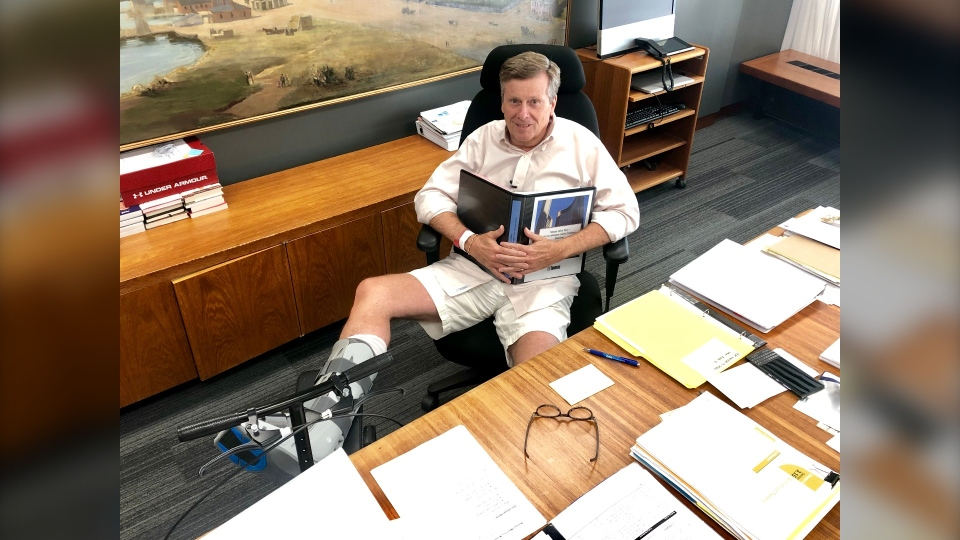Toronto Mayor John Tory is back in the office following surgery on his Achilles tendon. (Natalie Johnson/CTV News Toronto)