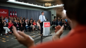Prime Minister Justin Trudeau speaks to Liberal Party candidates for the 2019 election, in Ottawa on Wednesday, July 31, 2019. THE CANADIAN PRESS/Justin Tang