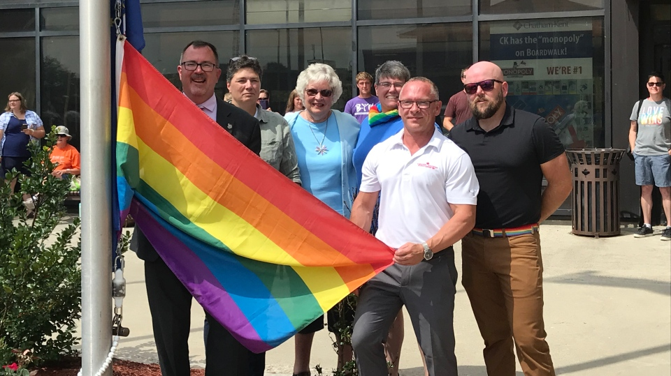 About 60 people attended a flag-raising at the Chatham-Kent Civic Centre on Monday, Aug. 12, 2019. (Courtesy Municipality of Chatham-Kent)