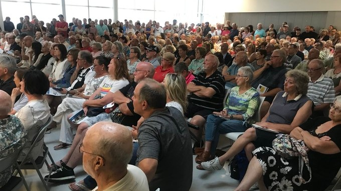 Hundreds of Lakeshore and Tecumseh residents pack the Atlas Tube Centre in Lakeshore to learn about the cause and impacts of high lake levels on the region on Aug. 12, 2019. (Rich Garton / CTV Windsor)