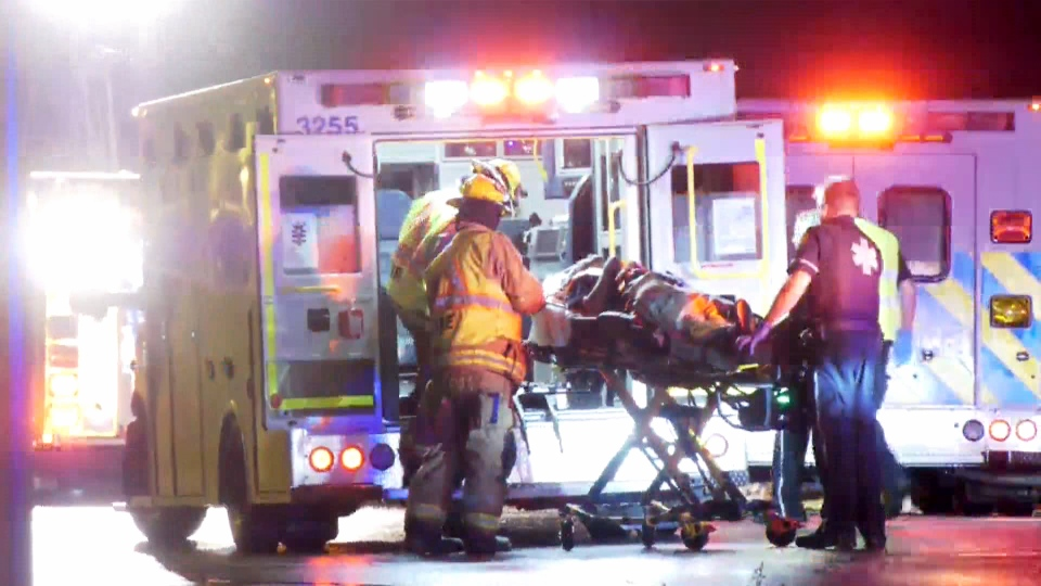 Five people were sent to hospital with various injuries following a two-vehicle crash on Stoney Trail late Monday.