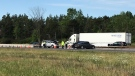 OPP Sgt. Kerry Schmidt is at a fatal collision on Highway 400, Barrie on Tues., Aug. 13, 2019. (CTV News Barrie)