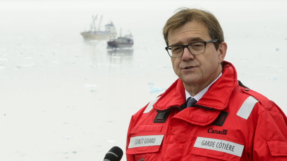 Minister of Fisheries, Oceans and the Canadian Coast Guard, Jonathan Wilkinson,speaks in Iqaluit on Aug. 2, 2019. THE CANADIAN PRESS/Sean Kilpatrick
