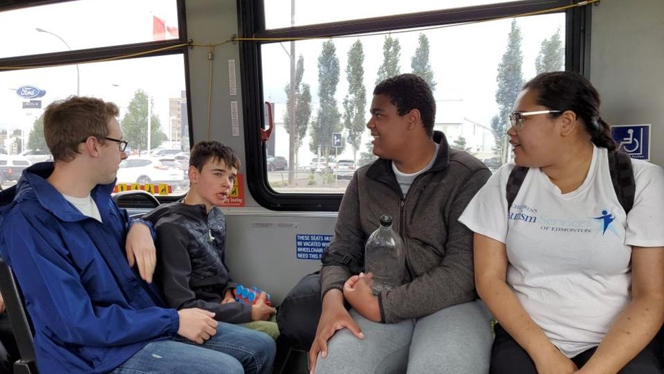 Teens take part in the Children's Autism Services of Edmonton camp. (Evan Klippenstein/CTV News Edmonton)