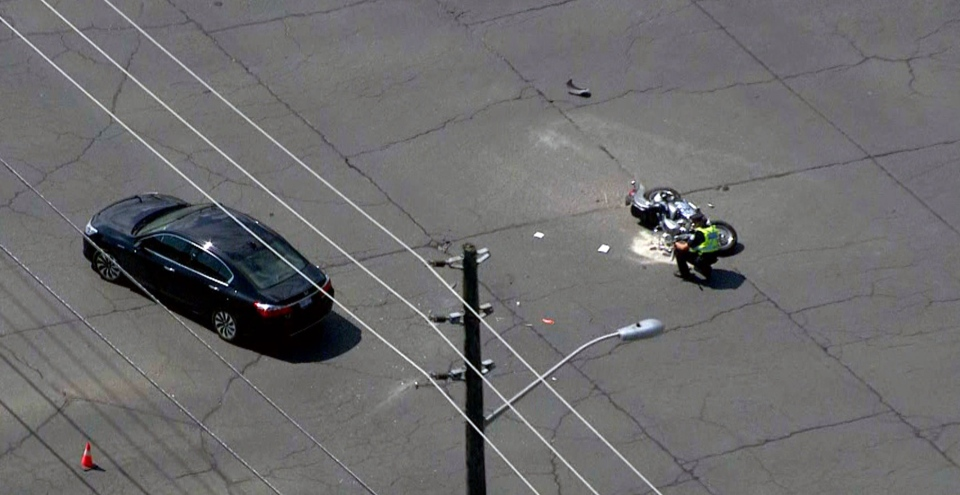 The scene of a collision involving a motorcycle in Scarborough on August 13, 2019 is seen. (CTV News Toronto Chopper)