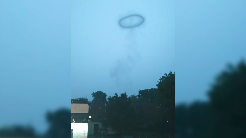 A smoke ring is seen over London, Ont. on Monday, Aug. 12, 2019. (Tylor Dean Wilson / Facebook)