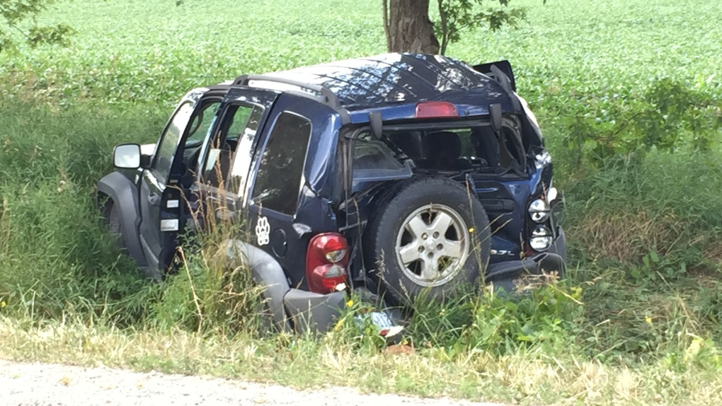 A vehicle after a crash in Wilmot