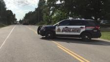 Police cruiser at scene of crash