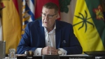 Saskatchewan Premier Scott Moe speaks during a meeting of Canada's premiers in Saskatoon, Sask. Wednesday, July 10, 2019. THE CANADIAN PRESS/Jonathan Hayward
