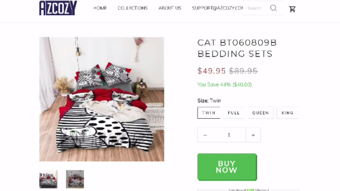"""""""Sure enough, here was this company selling all kinds of bedding and rugs – but it had my work,"""" says Duffett. """"It's pretty blatant. In fact, you can even see my signature in the bottom right-hand corner of the coverlet."""""""