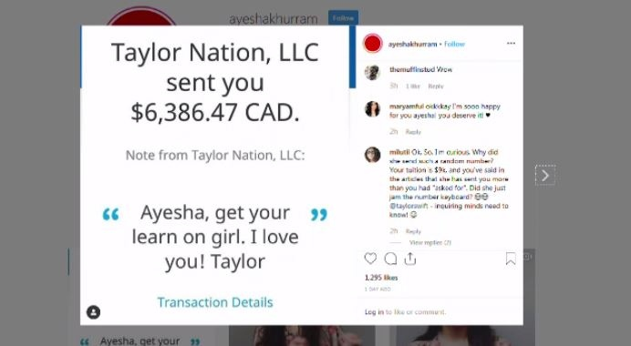 A screen shot of the message from Taylor Swift is seen here. (courtesy: @ayeshakhurram)