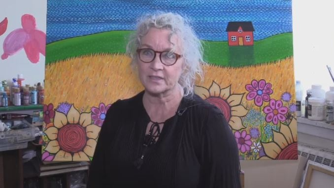 Shelagh Duffett says she was upset to find that an image of her painting was being used by an American company on bedspreads, without her consent.