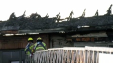 fire-damaged roof