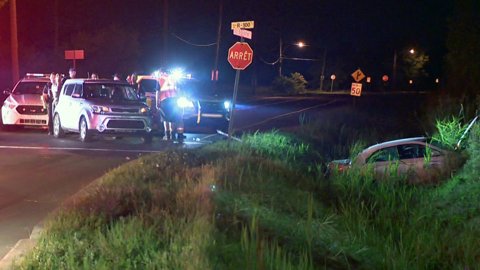 Three people were hurt when a car went into a ditch at R-100 Rd. and De La Savane St. in St. Hubert on Aug. 14, 2019 (CTV Montreal/Cosmo Santamaria)