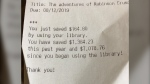 People were abuzz online after a U.S. teen posted a library receipt on Reddit showing he's saved more than US$7,000 during his lifetime. (Keegan Adreon)