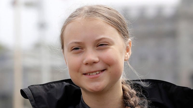 Climate change activist Greta Thunberg addresses the media during a press conference in Plymouth, England, Wednesday, Aug. 14, 2019. (AP Photo/Kirsty Wigglesworth)