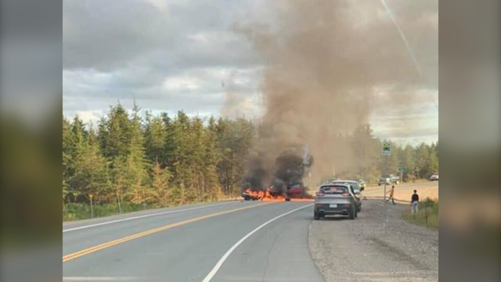 Fiery crash between car and motorcycle