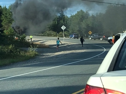 Fiery crash on MR84 in Capreol (Seline Bisaillon-Lemieux)