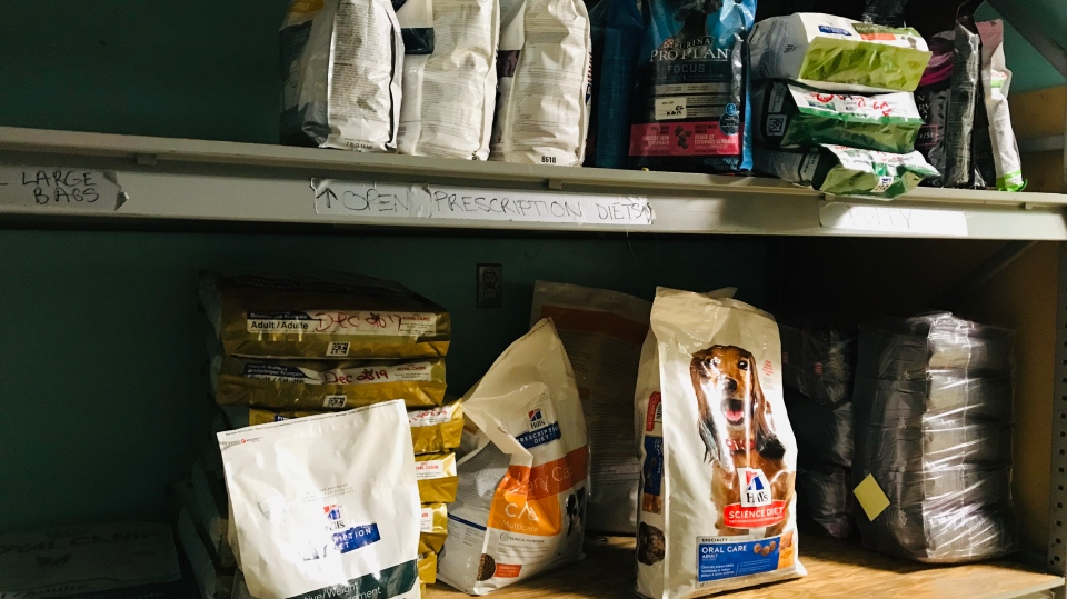 Half-empty shelves of pet food are seen in this photo provided by the Humane Society of London & Middlesex on Wednesday, Aug. 14, 2019.