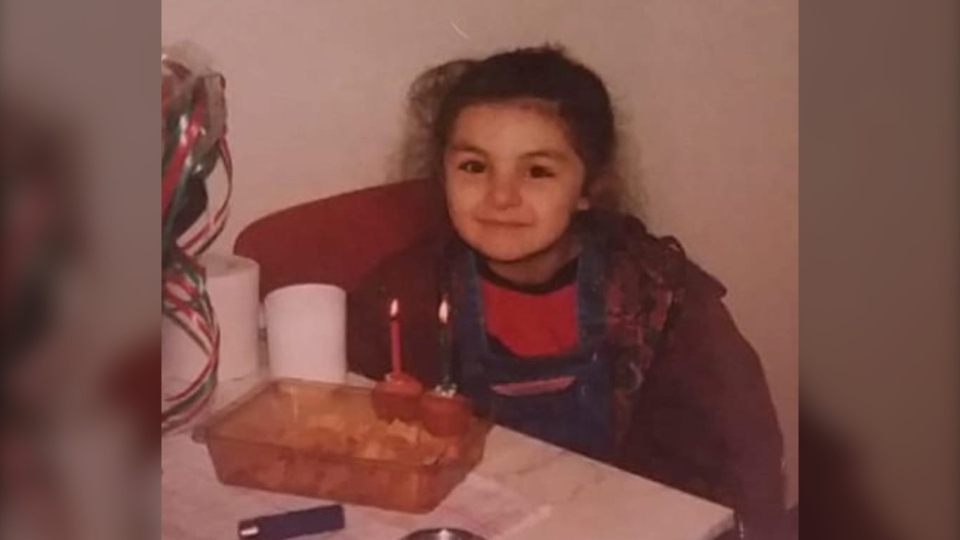 Mevan Babakar shared a photo on Twitter with the caption: 'This was my fifth birthday in the refugee camp in Zwolle. She doesn't even know that an incredible bike is coming her way aaaany day now!' (Mevan Babakar/Twitter)