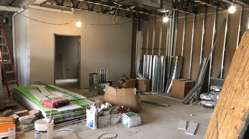 Work on building the shelter at 200 Larch Street is seen in this photo from 2019. The emergency shelter has reopened downtown. (File)