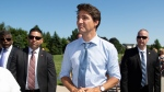 Prime Minister Justin Trudeau visited the community centre in Niagara-on-the-Lake, Ont. where he had just made an announcement on infrastructure funding on Wednesday, August 14, 2019. THE CANADIAN PRESS/Peter Power