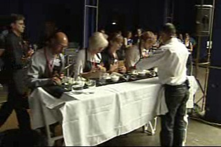 Barista Sameer Mohamed of Toi, Moi & Caf�, serves the judges at the Montreal round of the National Barista Championship (August 23, 2009)