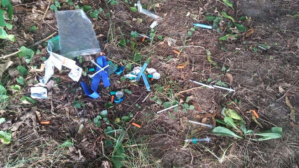 Needles seen scattered at a playground in Cambridge. (Trisha Marie / Facebook)